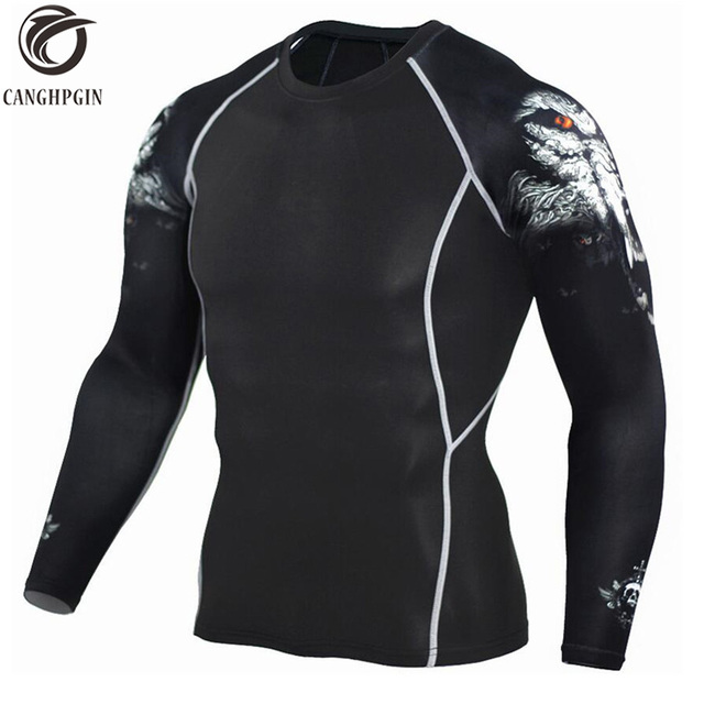 CANGHPGIN זאב 3D T חולצה ארוך שרוול ספורט חולצה גברים קרוספיט דחיסת גרביונים גברים של ריצת חולצות כושר יבש Fit rashgard