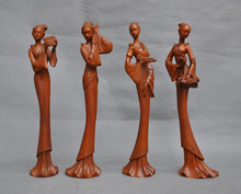 wedding decoration Chinese Old Boxwood Carved Ancient Four beautiful women 4 Belle Art Statue Set New Year