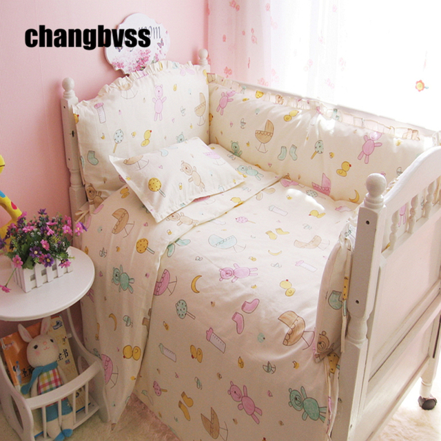 Colorful Little Bear Baby Crib Bedding Set Sheet Per Pillow Quilt Bed