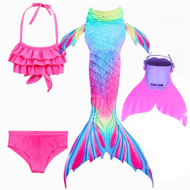 New Girls Princess Kids Mermaid Tail with Monofin for Swimming Costume Cosplay