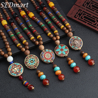 SEDmart Retro Ethnic Wood Lotus Buddha Statue Pendant Necklaces for Women Nepalese Mantra Wooden/Glass Beads Sweater Chain Gifts