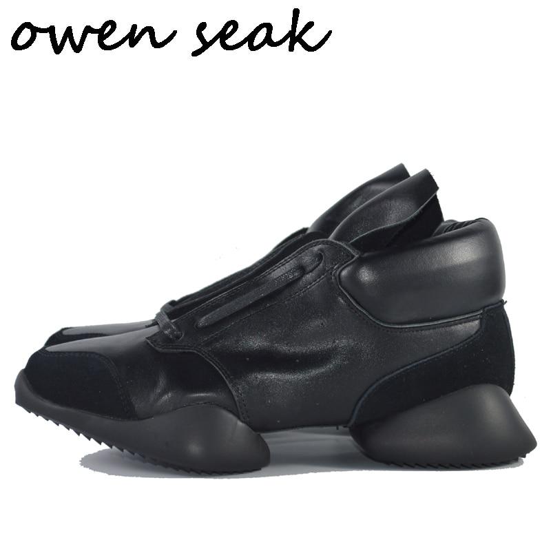 Wen Seak hombres herradura zapatos encaje hasta el tobillo zapatillas de lujo botas de cuero genuino Casual marca plana negro blanco talla grande zapatillas de deporte-in Zapatos informales de hombre from zapatos    1