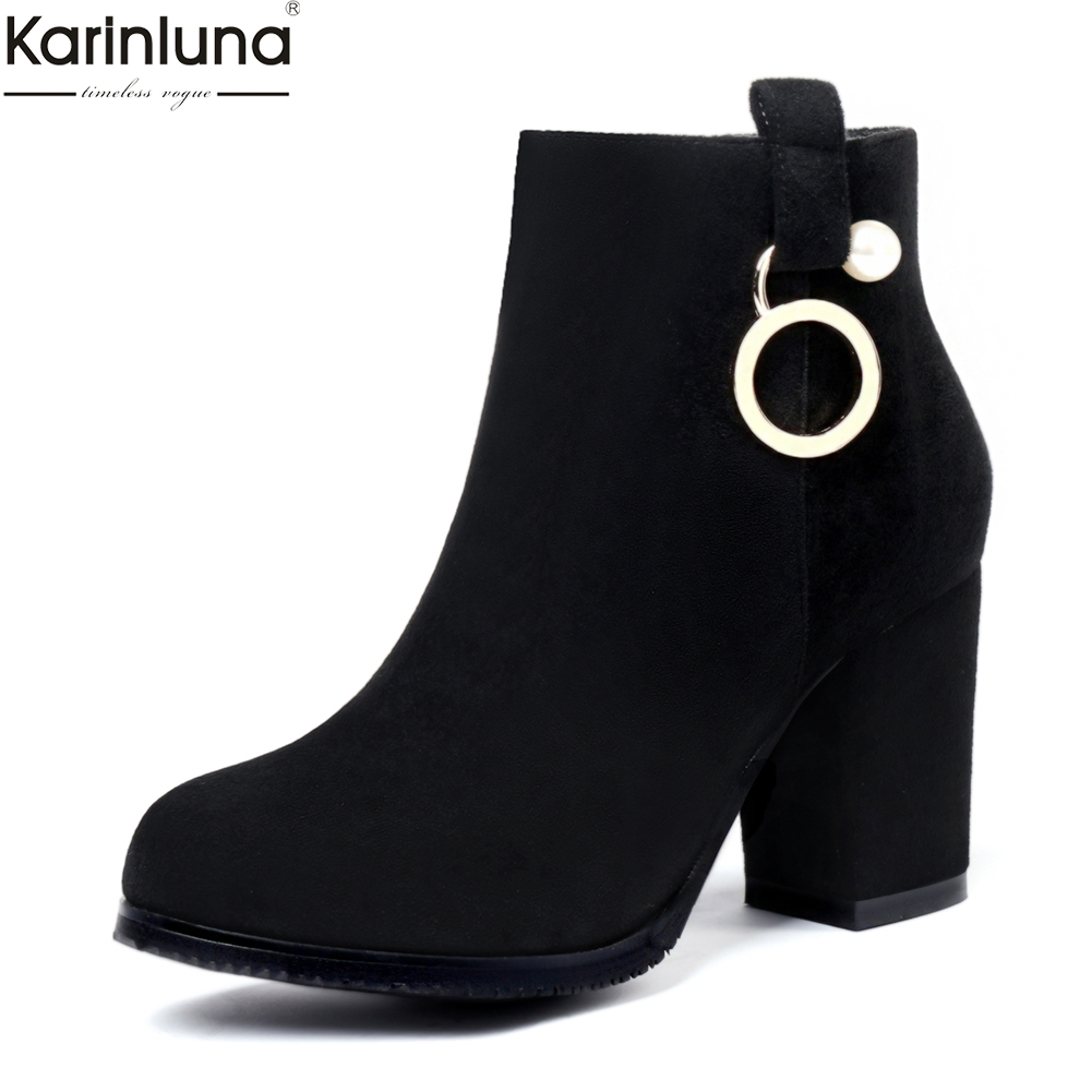 Karinluna new arrivals dropship big size 32-43 high heels ankle boots women shoes woman flock best quality boots shoes woman