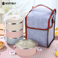 WORTHBUY Portable Stainless Steel Japanese Bento Box Gradient Color Thermal For Food With Containers Lunch Boxs