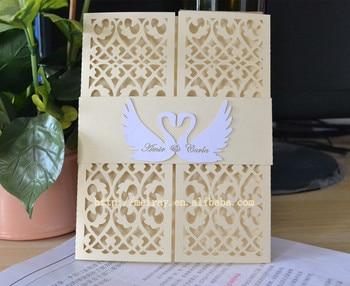 laser cut wedding invitations,romantic love swan wedding invitation covers