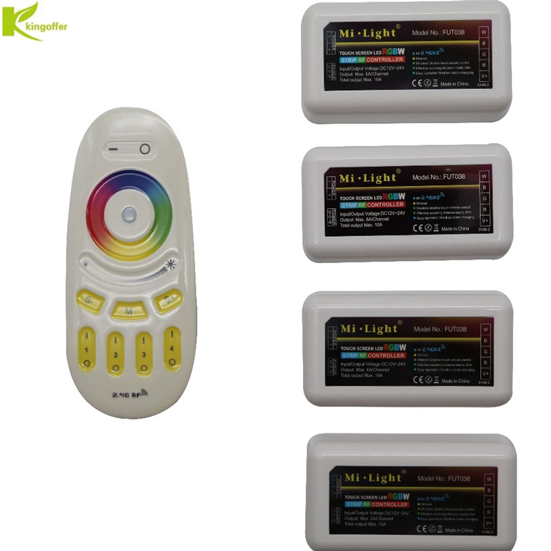 Kingoffer Milight 2.4G 4 zone Touch Screen RF Remote + DC12-24V Controller Dimmer For 3528 5050 RGBW RGBWW LED Strip Light dc12 24v mi light wireless 10a 2 4g 4 zone rf wireless rgbw led remote wifi controller dimmer for 5050 3528 led strip light bulb