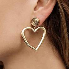 Celebrity Ethnic Metal irregular Hollow love Heart Stud Earrings For Women Jewelry Fashion Punk Collection Accessories