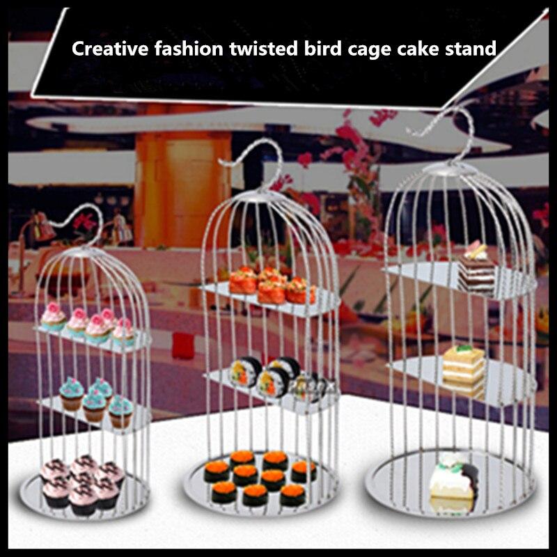 1 pièces acier inoxydable cage à oiseaux collation stand creative collation après-midi thé trois-couche plat pour collation rack sushi gâteau point fruits arc
