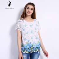 2017 Summer Lace Print T Shirt Loose Large Size Female T Shirt O Neck Casual Women