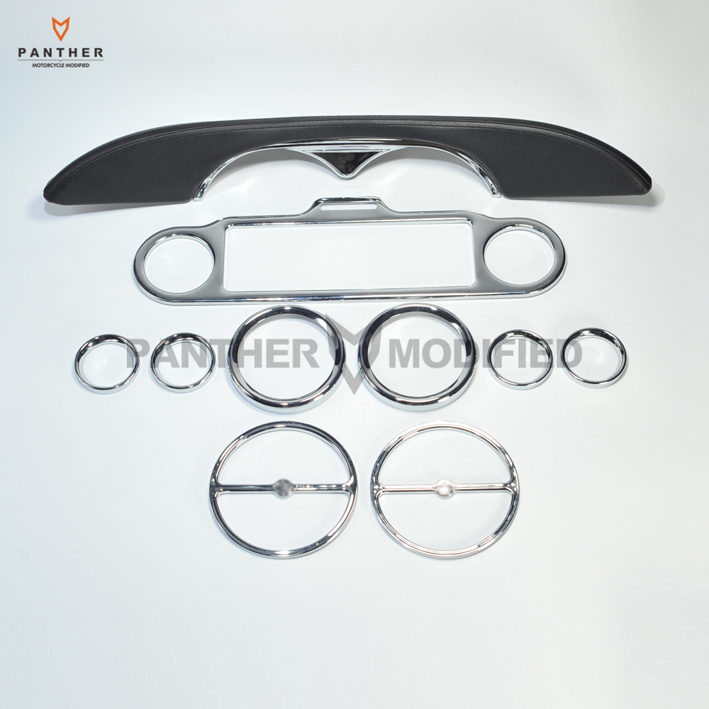 10 pcs Chrome Motorcycle Stereo Accent Speedometer Speaker Trim Ring and Interior cover decoration For Harley Electra Glide