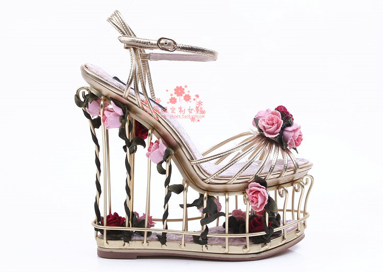 bcfa89d2d0d New Rose Embellished Metallic Leather Cut outs Cage Women Wedge Sandals  Flower Gladiator Sandals Women Platform Wedding Shoes -in Women s Sandals  from Shoes ...