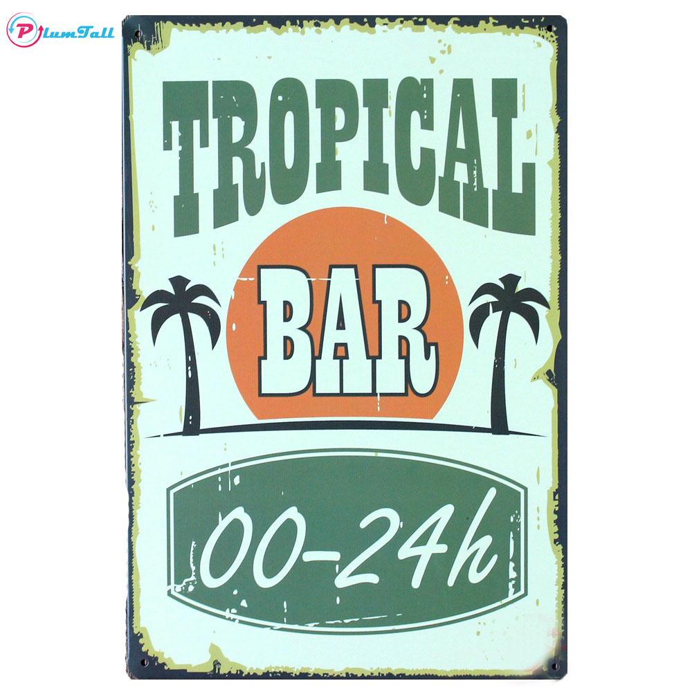 Tropical Bar Shop Tin Signs Vintage Metal Signs Home Decor Metal Plaques  Retro Bar Pub Cafe Bar Wall Decorative Metal Posters In Plaques U0026 Signs  From Home ...