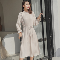 Summer Pleated Elegant Midi Dress 2019 New Women Casual Boho Long Sleeve Loose Draped Dress Holiday Club Party Dresses Vestidos