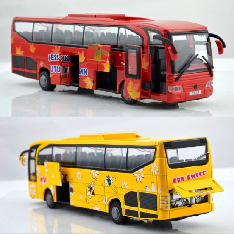 Toy car model alloy car big bus school bus police car 5 open the door acoustooptical WARRIOR