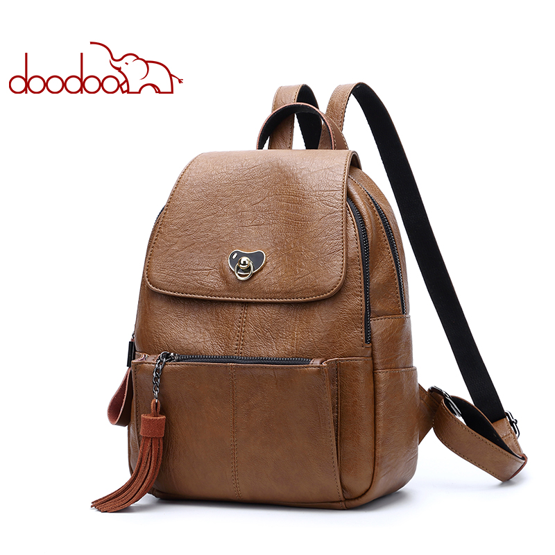 DOODOO Brand Fashion Backpack Mochila Feminina Women Bag Pu Leather Backpacks Travel Multifunctional 2018 Solid Color Back Pack doodoo fashion streaks women casual bear backpacks pu leather school bag for girl travel bags mochilas feminina d532