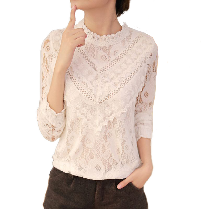 2017 Stylish White Lace Floral Women Full Sleeve Blouse ...