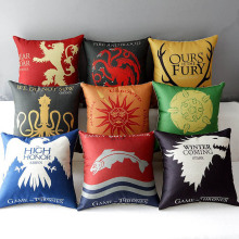 45 *45cm Game of Thrones Cotton Linen Cushion Cover Sofa Decorative Throw Pillow Home Chair Car Seat Pillow Case almofadas shabby chic car decorative cushion cover retro truck mini bus game chair pillow cover 45cm pillow case home decor sofa bedding