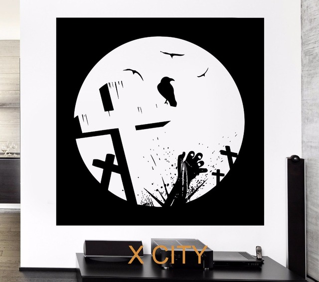 Black wall decal zombie death raven cemetery crosses grave corpse sticker removable vinyl transfer stencil mural