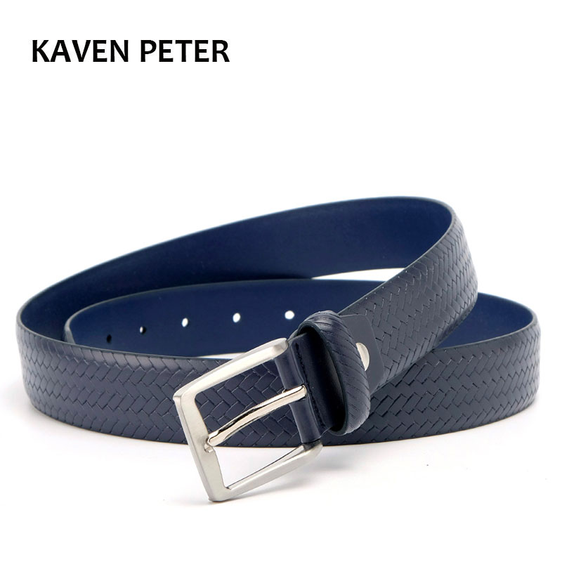 Classic Genuine Leather Plaid Belts for Men Casual Belt 3.5cm Width Black Dark Blue Dark Brown Ceinture homme