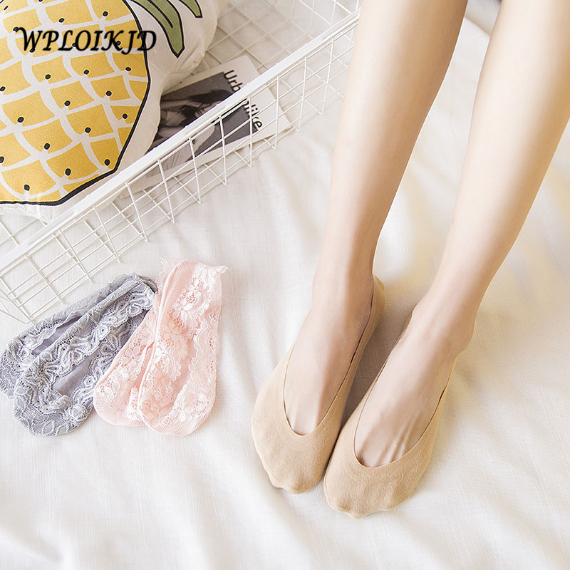 [WPLOIKJD]Handmade Elastic Anti Slip Breathable Silicone Cotton Women Socks Casual Comfort Stealth Ankel Meias Sokken