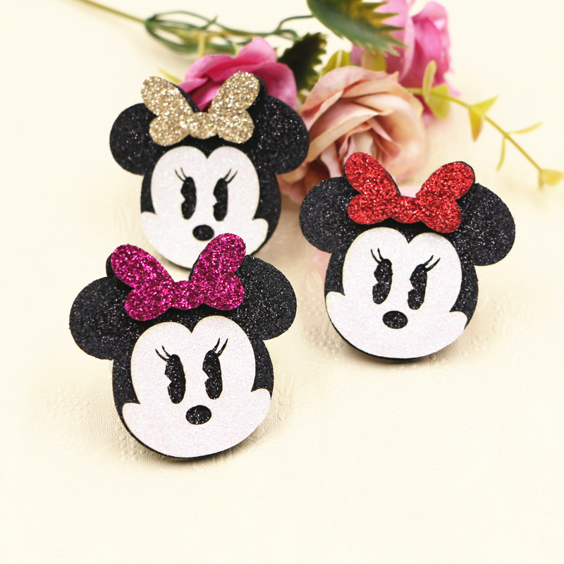 Flatback Glitter Wool Felt Ribbon Bow Kawaii Animal Mouse Button Patch Sticker Craft Fit Girls Hair Jewelry Bow DIY 30PCs 10Pcs ...
