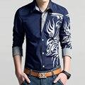 2017 primavera nuevos hombres de camisa casual de manga larga de impresión vestido de diseñador de la marca de la personalidad, los hombres visten camisa masculina 4XL