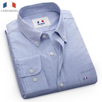 LANGMENG 100 Cotton Thin Oxford Dress Shirt Men Long Sleeve Casual Shirt Brand Mens Clothing Slim