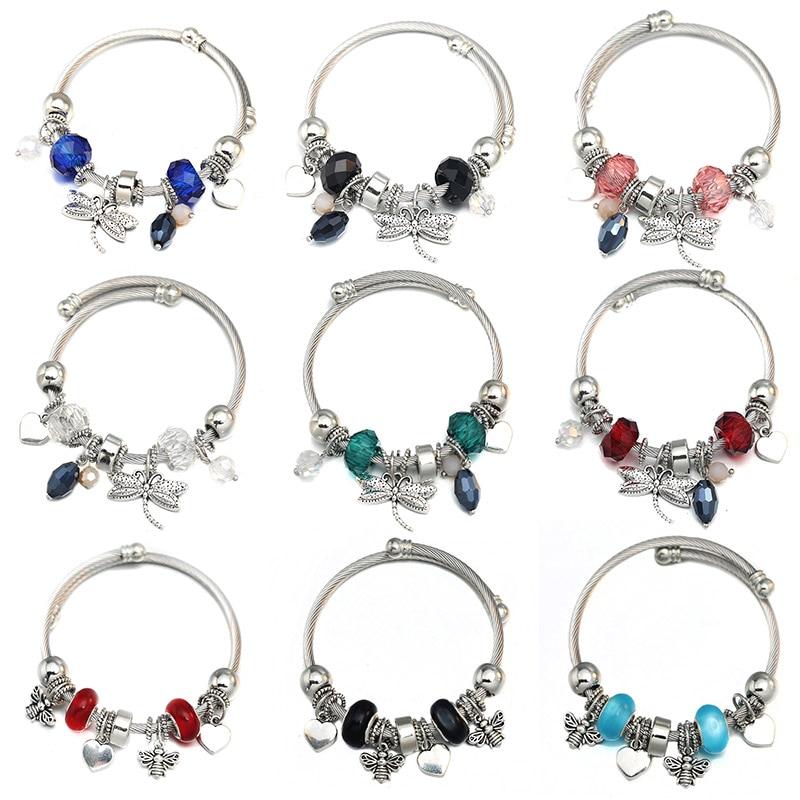 Новинка 2020, очаровательный браслет с бисером в виде стрекозы, 6 цветов, металлический, 60 мм, фотоэлемент, женское свадебное украшение, подаро...