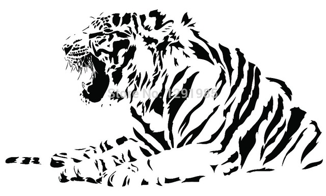 Animal large tiger half body wall decal sticker living room wall vinyl sticker custom made home