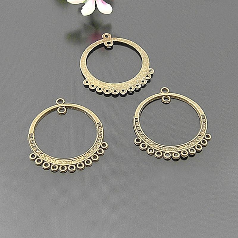 (21384) 30PCS 27x26MM Antike Bronze Zink-legierung Runde Ohrringe Stecker Charms Diy Schmuck Erkenntnisse Zubehör Großhandel