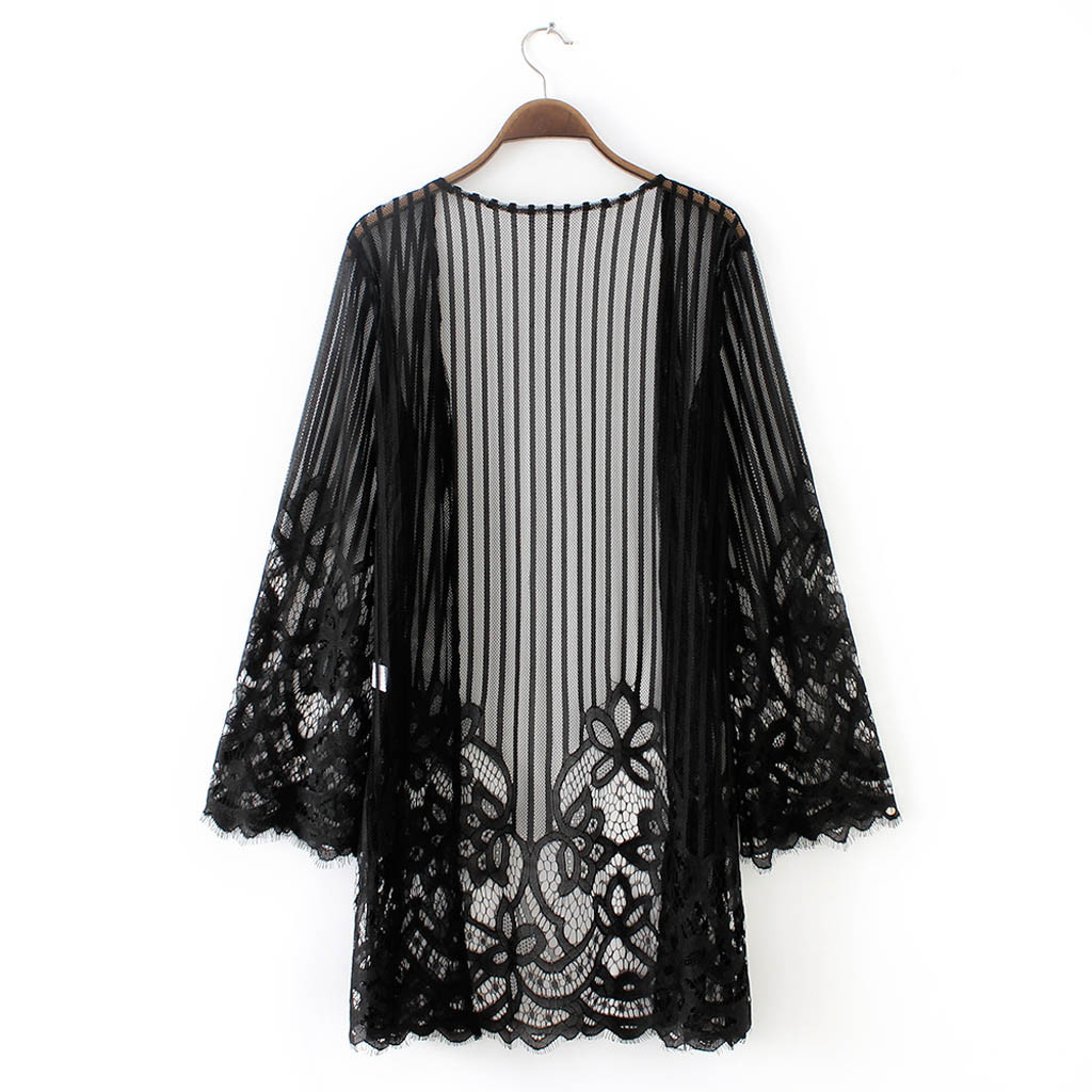 Fashion Women Lace Shawl Solid Long   Blouse     Shirt   Perspective Sunscreen Cardigan Cover Up Beachwear Chiffon Kimono Cardigan TT