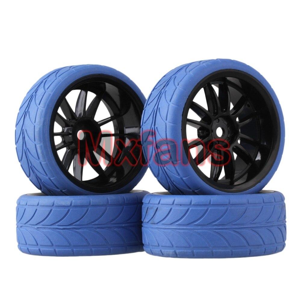 Mxfans 4x RC 1:10 On Road Car Black 12 Spoke Plastic Wheel Rim + Blue Arrow Rubber Tyre aluminum 6 spoke wheel rim for 1 10 rc on road racing car