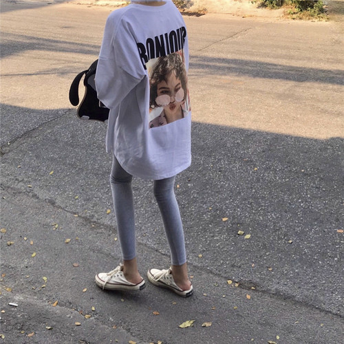 Letter Character Printed White Oversize Loose Long Design 2019 Summer Spring Short Sleeve Female Women T-shirts