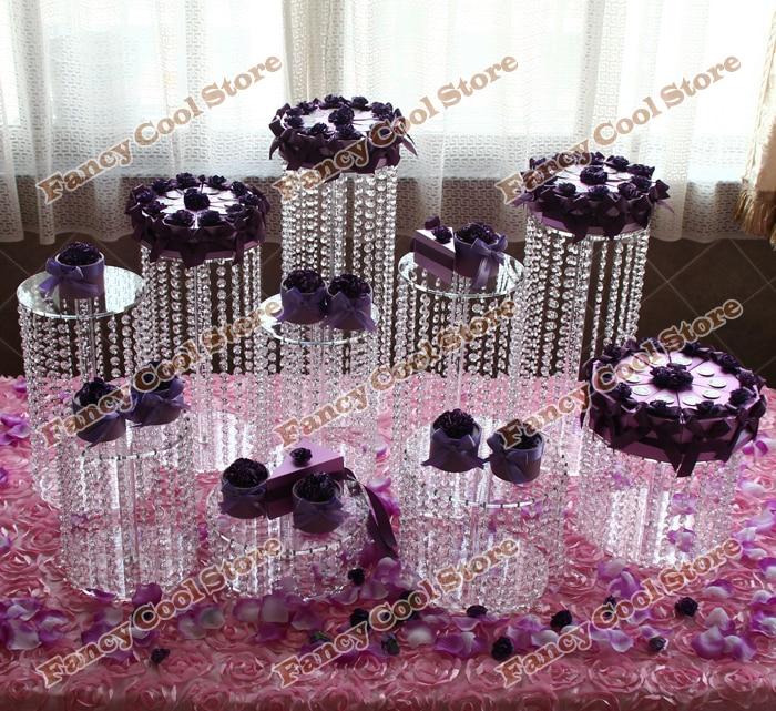 9ks / lot svatební křišťál průhledný akrylový dort stojan - svatební vrchol - party dort dekorace - svatební dort display-9PA1