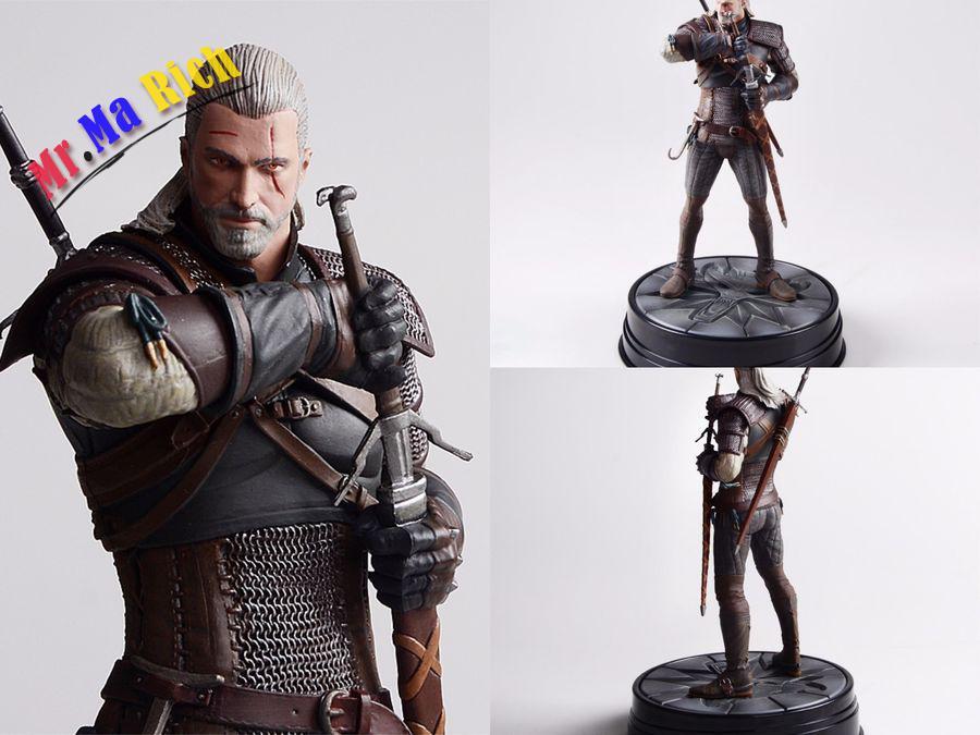 Cheval noir Deluxe The Witcher 3 chasse sauvage-Geralt de Rivia Statue Figure nouveau