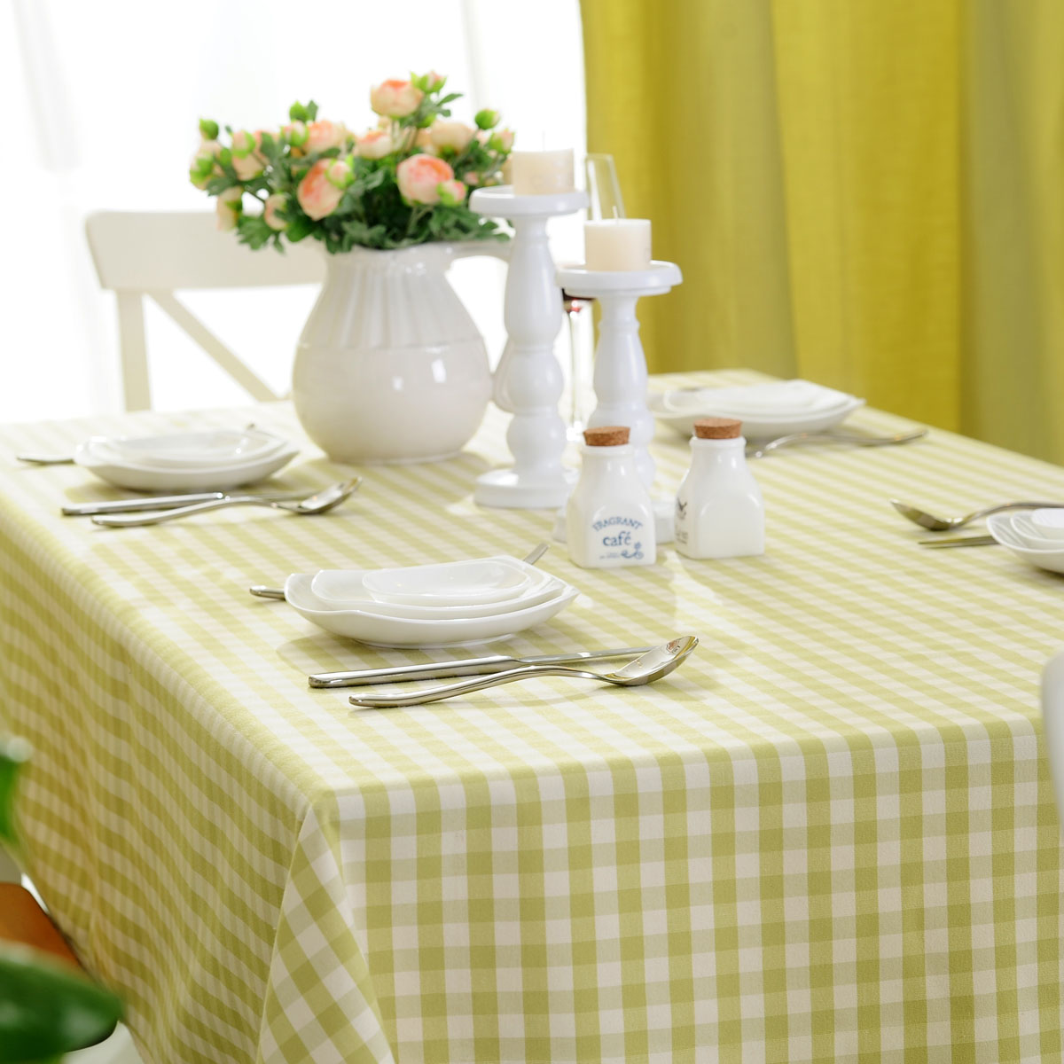 Pastoral Style Green Plaid Tablecloths Table Cloth Cover Round Rectangular Tablecloth Home Decoration