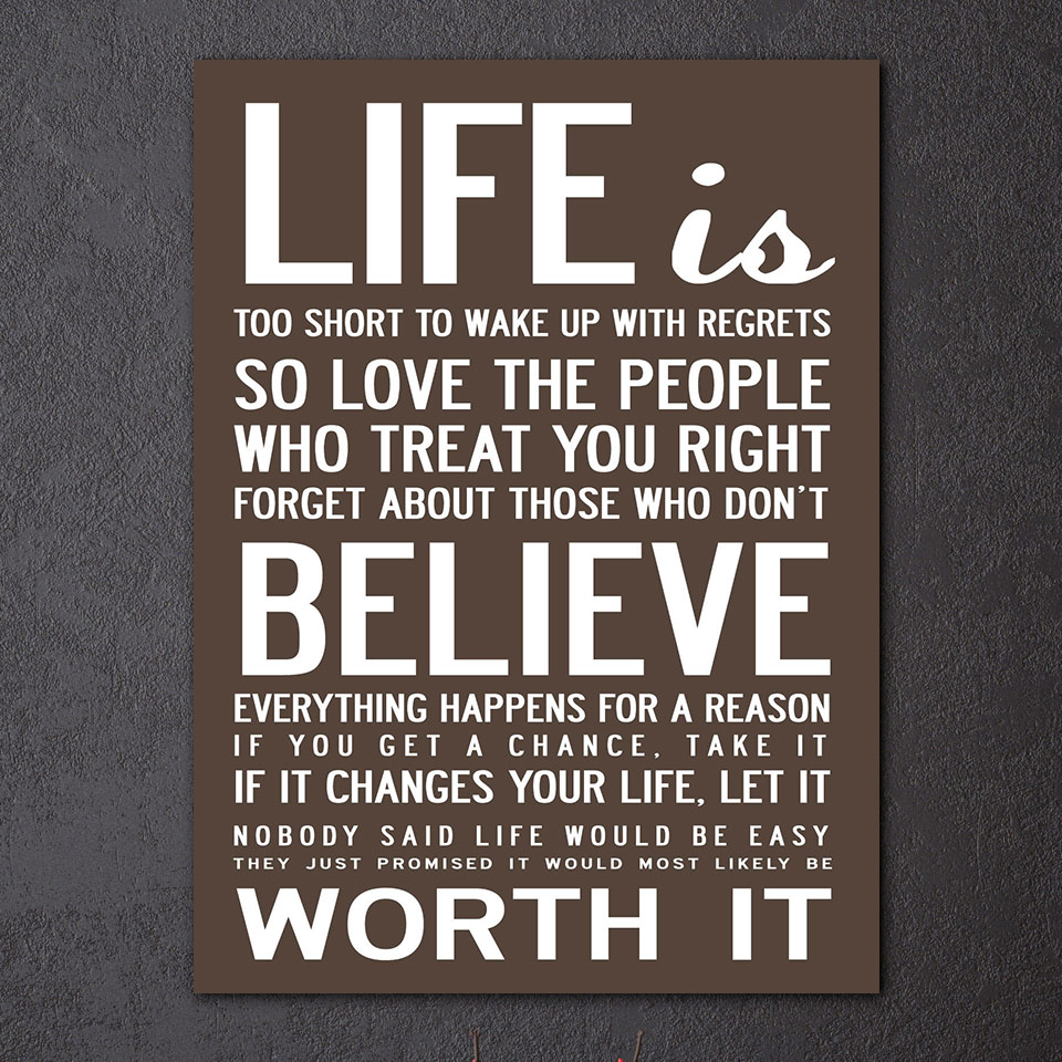 Get A Life Quotes 1 Pcsset Framed Hd Printed Life Quotes Wall Art Canvas Pictures