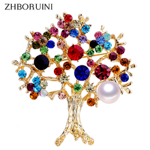 ZHBORUINI 2019 Natural Pearl Brooch Colorful Trees Breastpin Freshwater Jewelry For Women Christmas Gift Accessories