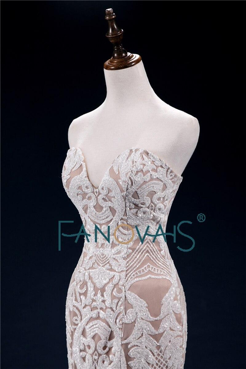 Unique Mermaid Wedding Dresses 2018 Sweetheart High Quality Sequin Lace Wedding Gown Formal Party Dress Vestido de Noiva WN30 - 3