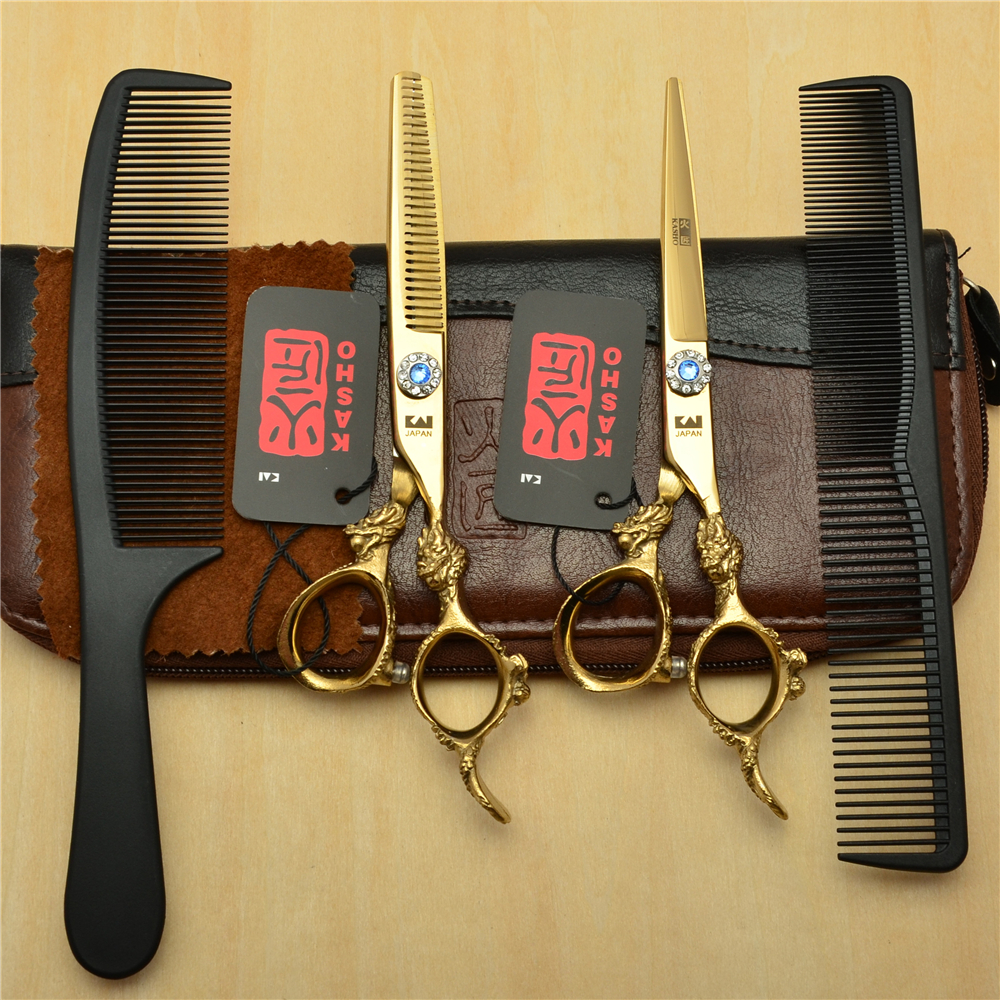 4Pcs/Set 6'' Golden KASHO Professional Human Hair Hairdressing Scissors Combs+ Cutting+ Thinning Shears Big Dragon Handle H9004 комплект для татуировки oem 1 gig set golden dragon