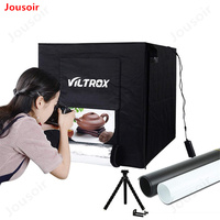 60x60x60cm Professional Photo Studio Light Tent Photography Softbox Box Kit with LED Light and Blackgrounds,White&Black CD15