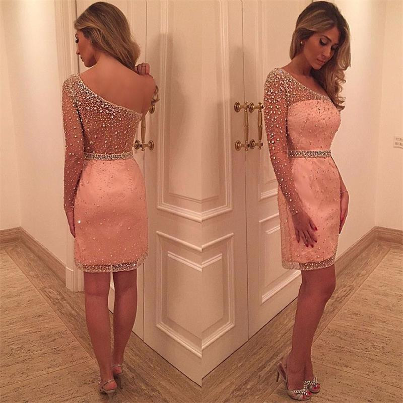 Luxury One Shoulder Long Sleeve Short   Cocktail     Dresses   2019 Sexy Beaded See Through Knee Length Girls Party   Dresses