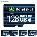 1 pcs rondaful 64 gb cartão micro sd classe 10 8 gb 16 gb telefone 32 GB Flash de 128 GB C10 Cartão TF Cartão De Memória para Câmera de Alta velocidade