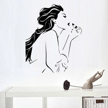 New arrival Beautiful sexy girls beauty salon Wall Sticker for Girls Bedroom Decoration Art Decor Beauty Shop mural