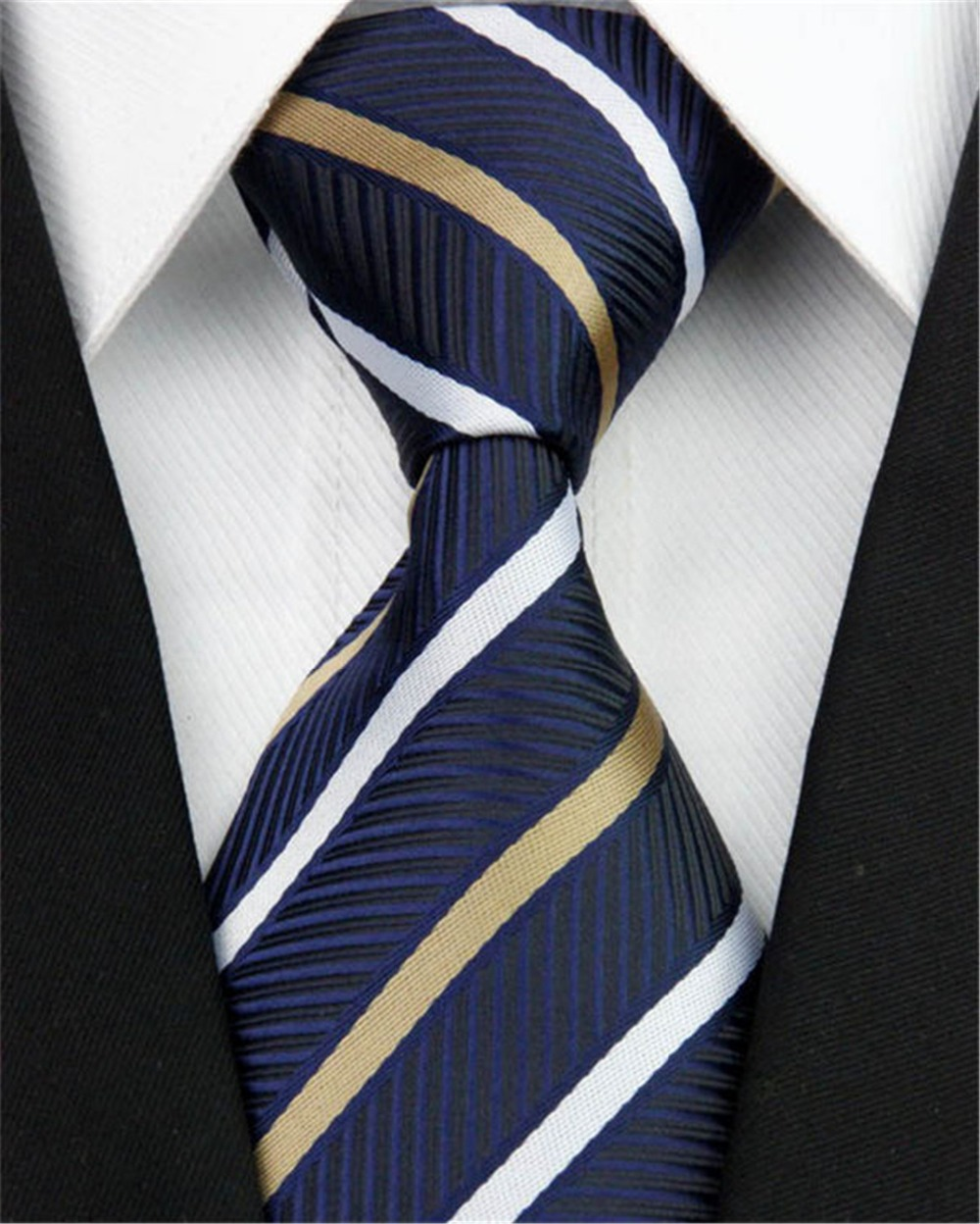 Classic Business Striped Pattern Tie Men Accessories 100% Silk Formal Wedding Style Jacquard Woven Necktie 4 inch/10cm Nt200 - Jos Store store