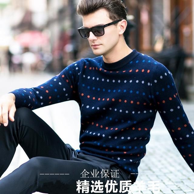 Primavera E no Outono Camisola Dos Homens Espessamento Suéter de Lã de Tricô Camisola Dot o-Gola Manga Longa