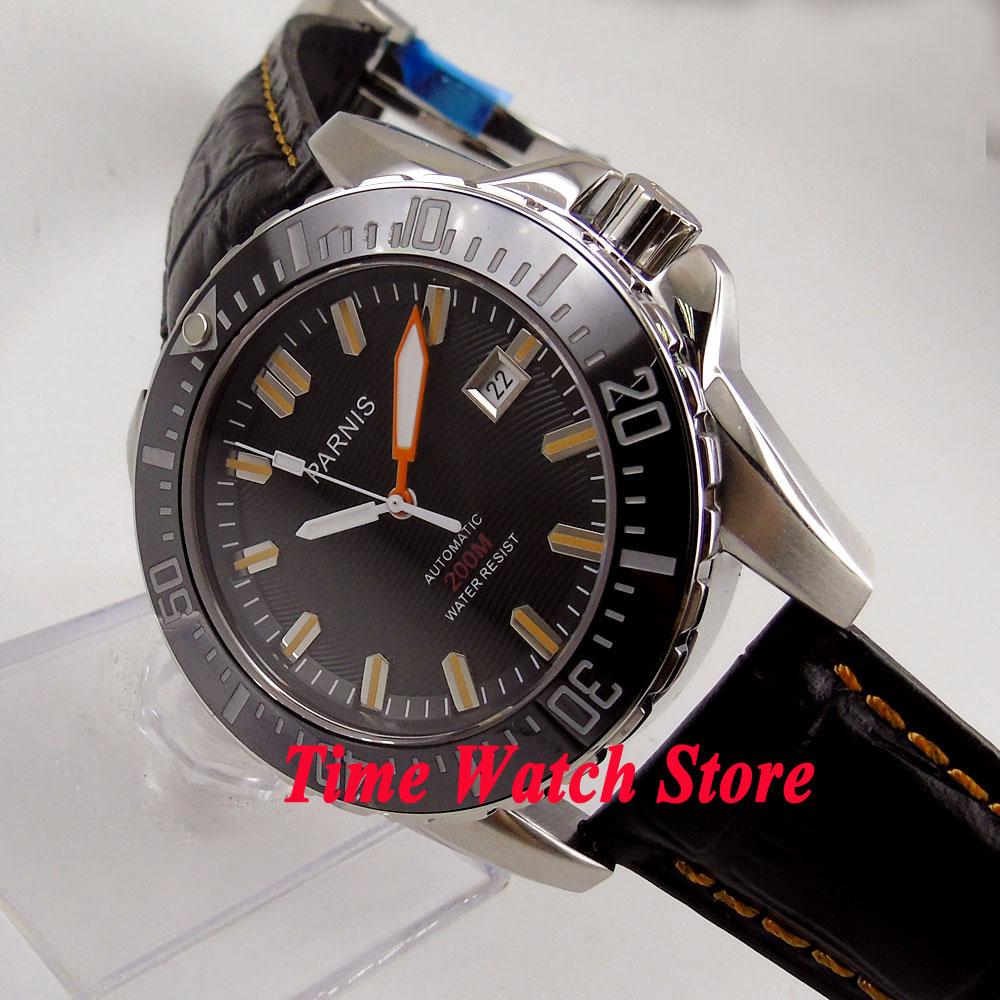 лучшая цена 43mm Parnis Black wave dial Sapphire glass Ceramic Bezel 20ATM Diver MIYOTA Automatic movement Men's watch men 908