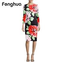 Fenghua Fashion Elegant Summer Dress Women 2018 Spring Long Sleeve Foral Dress Vintage Sexy Work Office