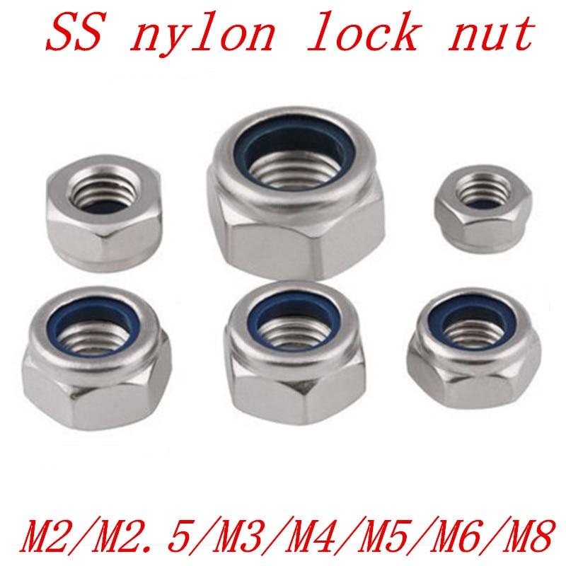 10~1000PCS M2 M3 M4 Nylon Insert Self-Lock Nuts Hex Lock Nut Aluminum Alloy Nuts