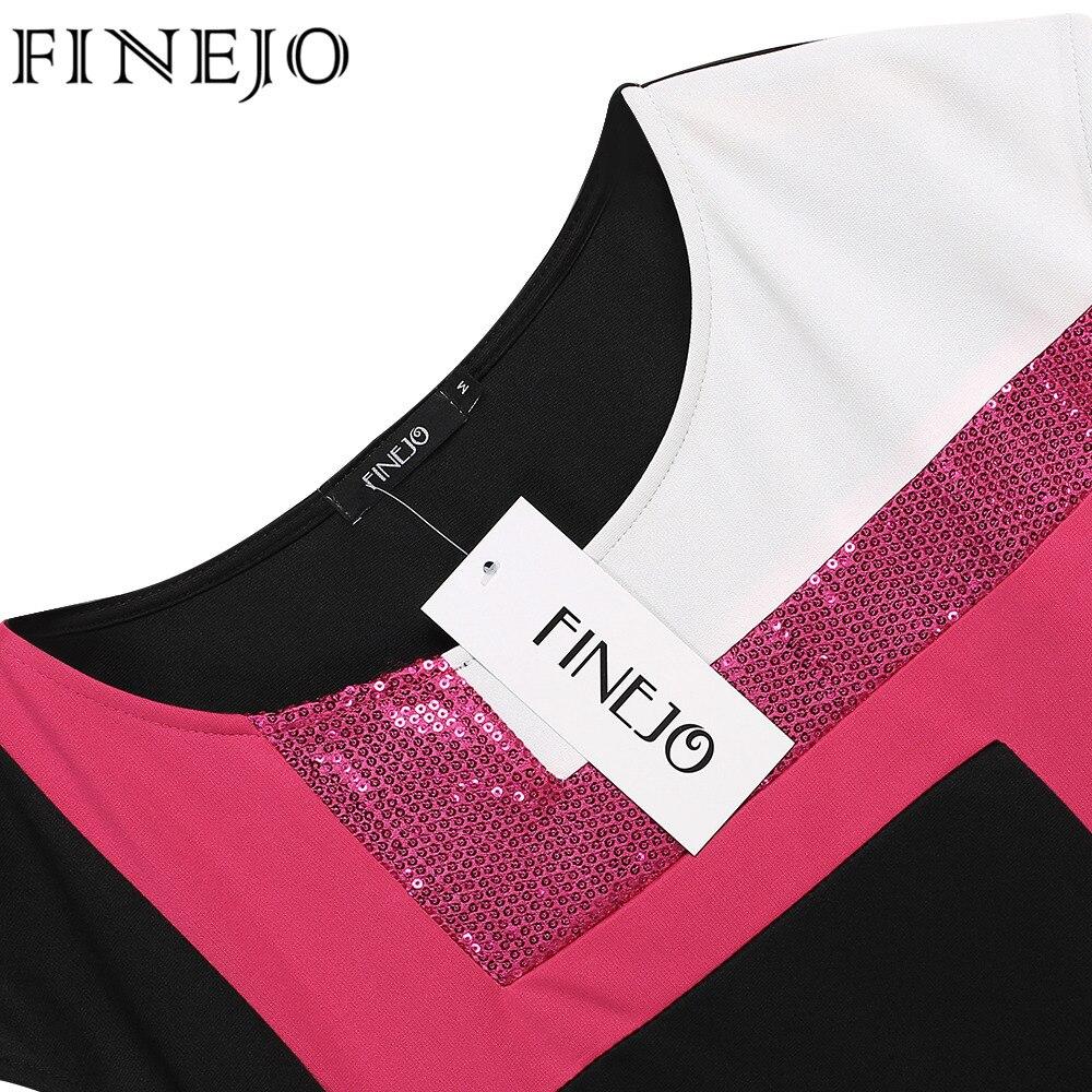 Finejo frauen mode sexy bodycon dress vestidos geometrische patchwork - Damenbekleidung - Foto 5